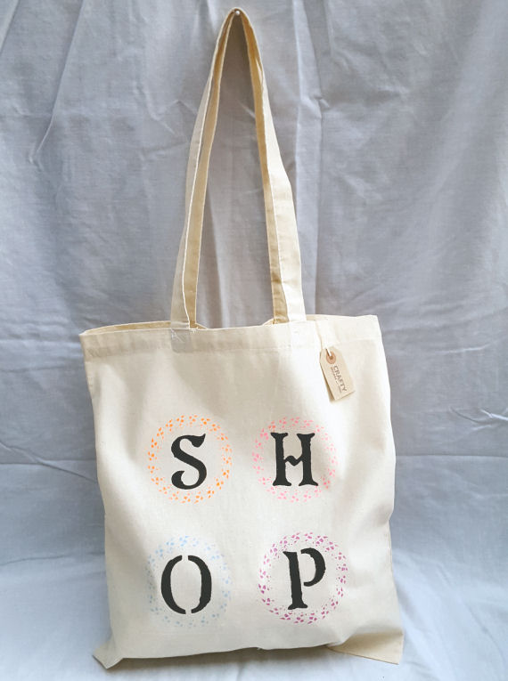 Cotton Tote Bag with Multi-Colour Circle Shop Design