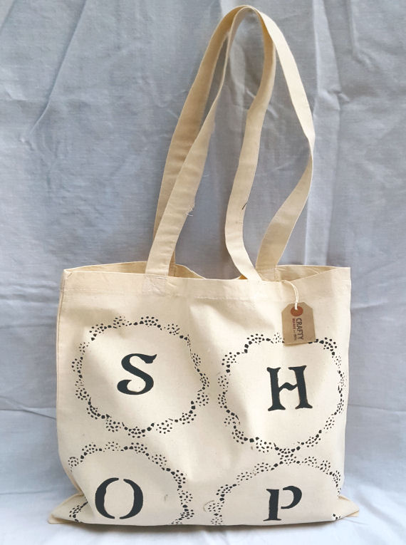 Cotton Tote Bag with Circular Shop Design in Black