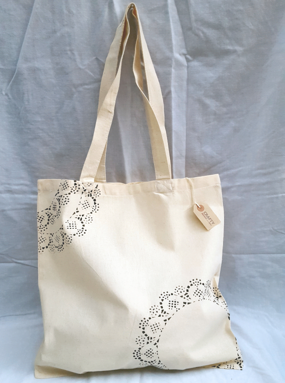 Cotton Tote Bag with a Black Pattern Design