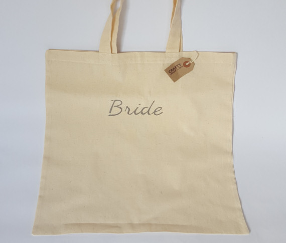 Natural Cotton Shopping Bag with Bride Design