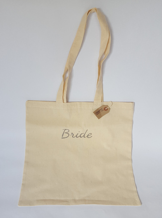 Cotton Tote Bag with Bride Design