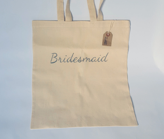 A Natural Cotton Tote Shoulder Bag with Bridesmaid Design