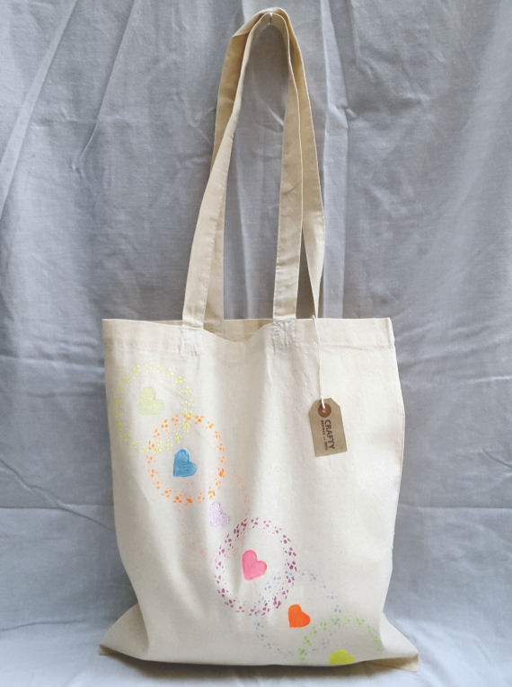Cotton Tote Bag with a Circle and Heart Multi-Colour Pattern Design