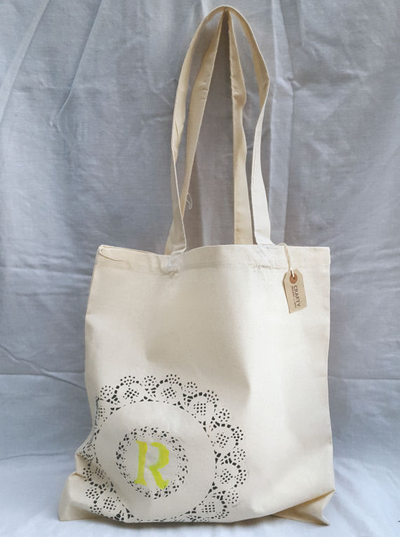 Cotton Tote Bag with a Circular Design and Initial(s)