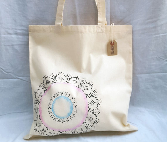 Cotton Tote Shoulder Bag with Circular Design