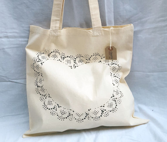 A Natural Cotton Tote Shoulder Bag with Heart Design in Black