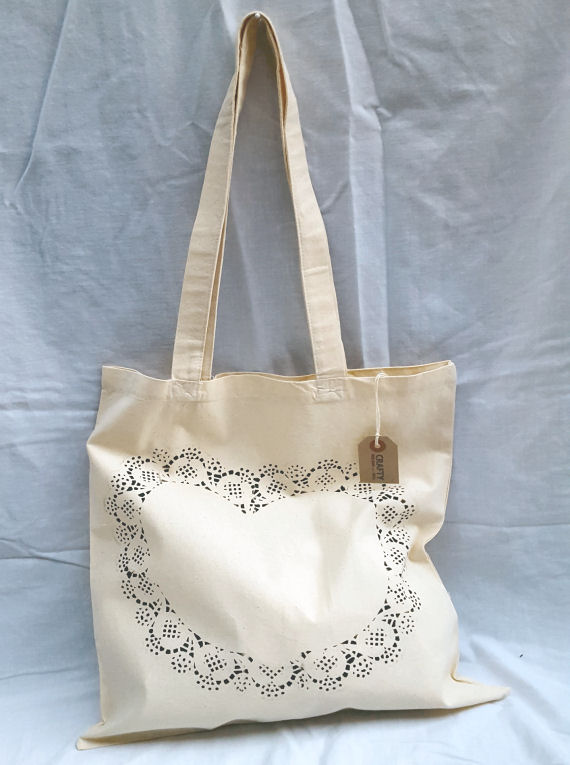 Cotton Tote Bag Heart Design in Black