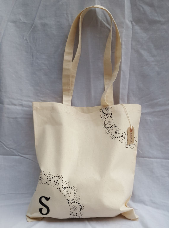 Cotton Tote Bag with Initial(s)