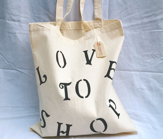 Natural Cotton Tote Shoulder Bag with 'Love To Shop' Design in Black