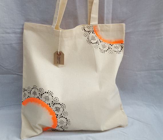 Natural Cotton Tote Shoulder Bag with an Orange & Black Design