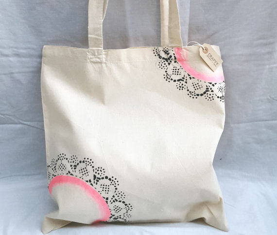 Natural Cotton Tote Shoulder Bag with a Pink & Black Design