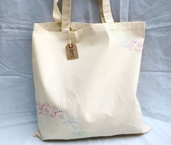 Natural Cotton Tote Shoulder Bag with Rainbow Effect Design