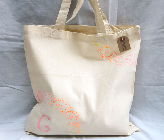 A Natural Cotton Tote Shoulder Bag with Rainbow Effect Design & Initial(s)