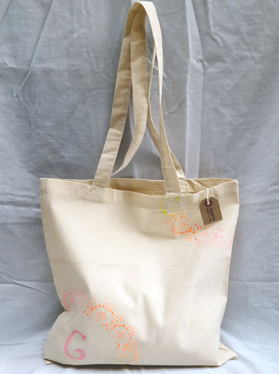Cotton Tote Bag with Rainbow Effect Design & Initial(s)