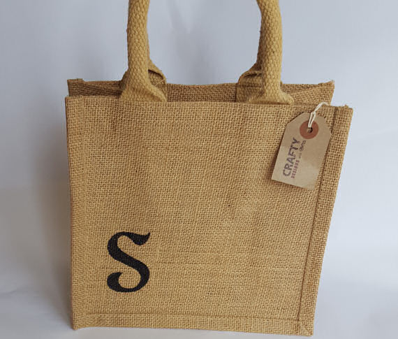 A Natural Hessian Jute Lunch Bag with Initial Design