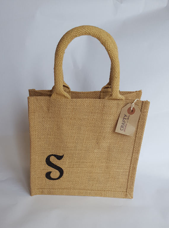 Jute Hessian Lunch Bag with Initial