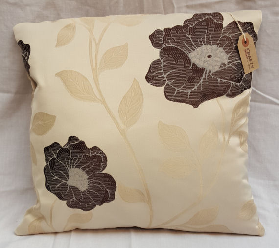 A Brown Floral Pattern Cushion with Zip