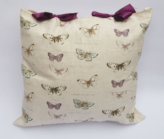 Butterfly Design Cushion with Purple Bows
