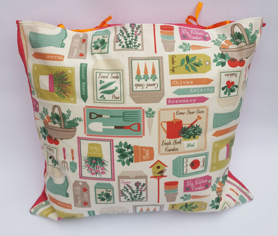Colourful Garden Design Cushion with Bows