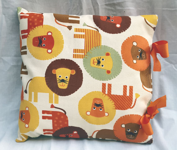 Colourful Lion Design Cushion with Bows
