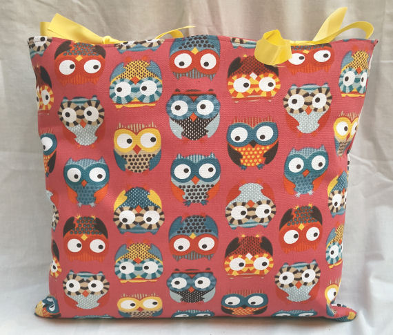 Colourful Owl Design Cushion with Bows