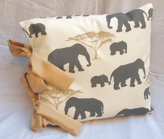 Elephant Design Cushion with Bows