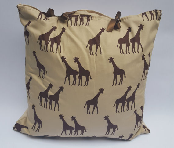 Giraffe Design Cushion on Beige with Bows