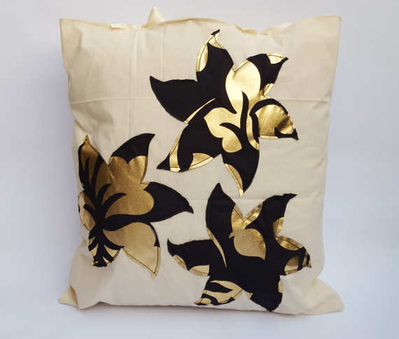 Gold and Black Floral Stencil Design on Calico with Bows