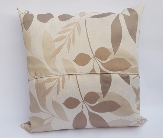 A Handmade Grey, Brown & Beige Coloured Floral Cushion