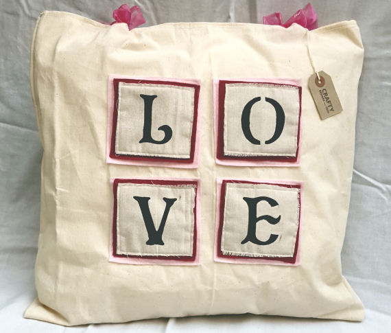 Natural Calico Love Patch Design Cushion with Bows