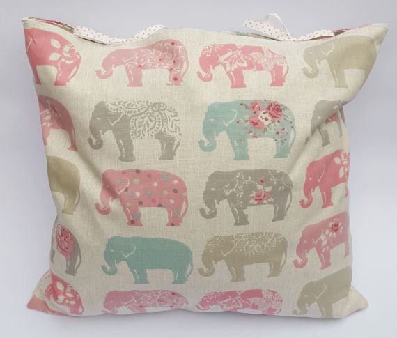 Pastel Elephant Design Cushion with Bows