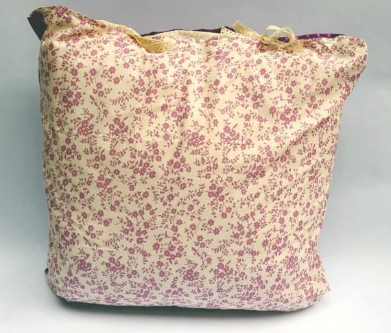 Floral Pattern on Cream / Pink Spots on Purple Design Cushion with Bows