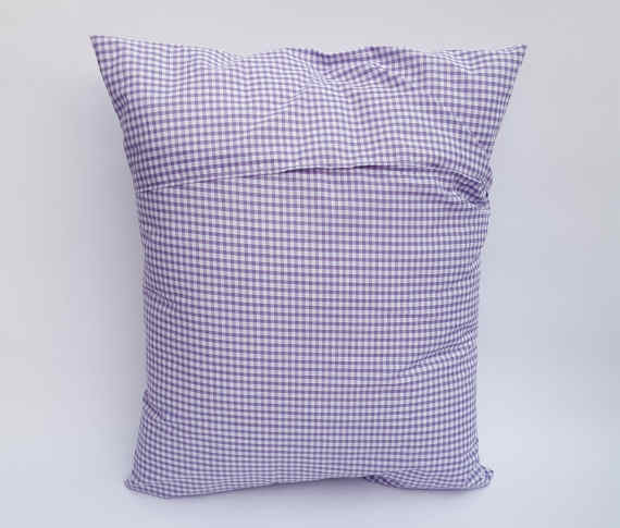 A Handmade Lilac Gingham Cushion with White Lace and an Envelope Style Reverse